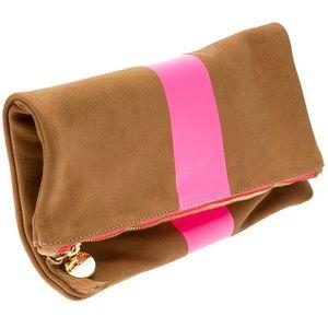 NWT Clare V Fold Over Stripe Clutch Camel w Pink
